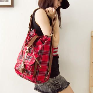 Buy Fashion Lady Convertible Plaid Backpack 1022526053
