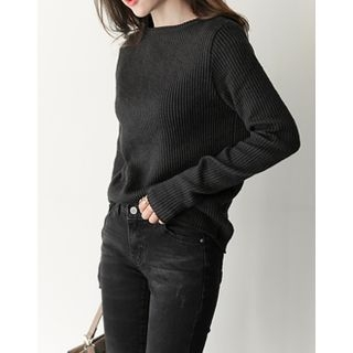 Long Sleeve Round-Neck Ribbed Top 1054920598