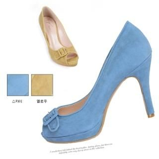 Picture of NamuDDalgi Faux Suede Buckled Platform Pumps 1022310574 (Pump Shoes, NamuDDalgi Shoes, Korea Shoes, Womens Shoes, Womens Pump Shoes)