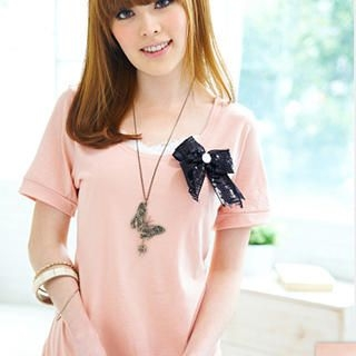"Buy Tokyo Fashion Set: Short-Sleeve Top + Lace-Trim Camisole + ""Bow"" Pin 1022526355"