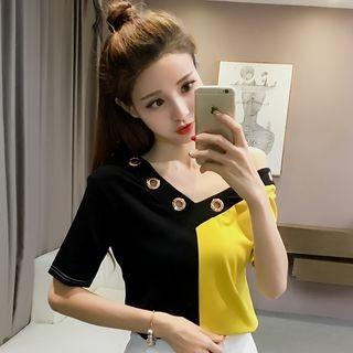 V-neck Panel Short-Sleeve T-shirt 1060796220