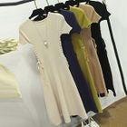 Ribbed Short-Sleeve Knit Dress 1596