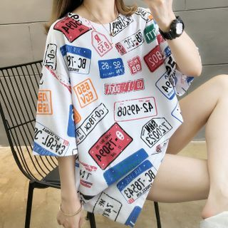 Image of Number Print Elbow-Sleeve T-Shirt