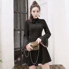 Bell-Sleeve Buttoned Sheath Dress 1596