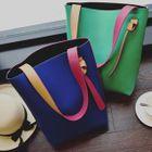 Set of 3 : Faux Leather Colour Block Shoulder Bag 1596