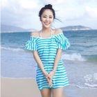 Set: Striped Bikini + Ruffled Dress 1596
