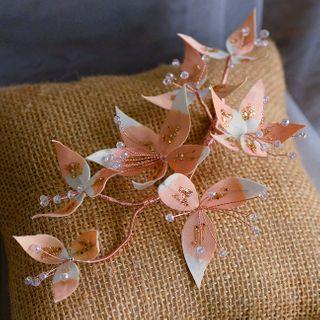 Image of Bridal Beaded Flower Headpiece Orange & White - One Size