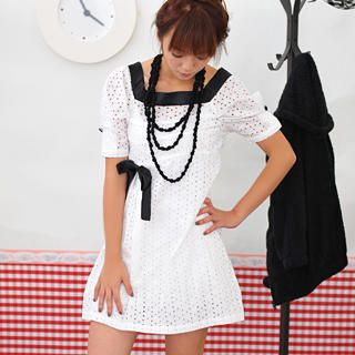 Buy Geri Eyelet Lace Inverted Pleat Dress White – One Size 1021070550