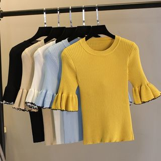 Image of Elbow-Sleeve Ruffled Knit Top