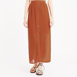Buttoned Chiffon Maxi Skirt