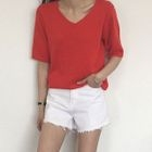Fray-Hem Cotton Shorts 1596