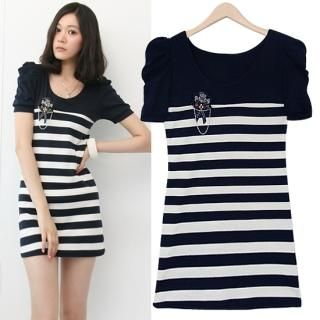 Buy HUE IT GIRL Shirred Sleeve Stripe Dress with Brooch 1022789621
