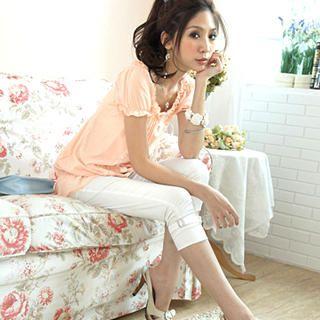 Buy Tokyo Fashion Rhinestone Buckled Cropped Pants 1023000420