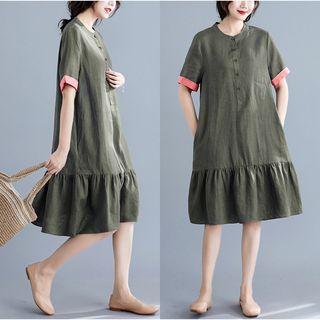 Short-sleeve | Ruffle | Green | Dress | Army | Size | One