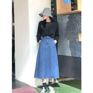 Band-Waist Denim A-Line Long Skirt 1062110110