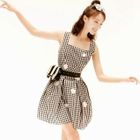 Sleeveless Check A-Line Dress 1596
