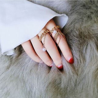 Faux Pearl Chain Ring