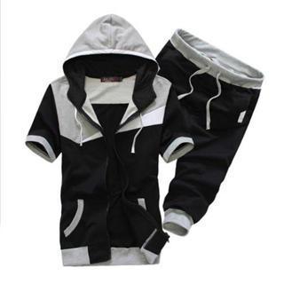 Set: Short-Sleeve Color-Block Hooded Jacket + Cropped Sweatpants 1036087514