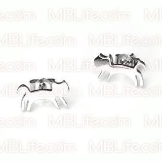 Playful Cat 925 Silver Earrings