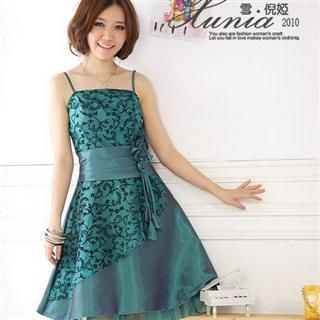 Buy Xunia Rosette-Accent Layered Sleeveless Party Dress Green – One Size 1022823280
