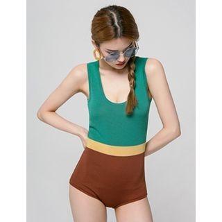 Color-Block Knit Swimsuit 1060379409