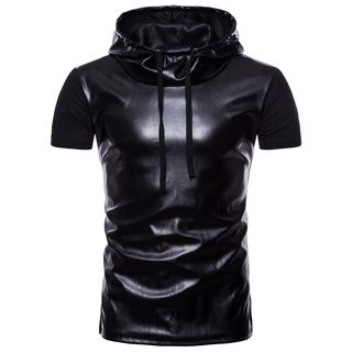Short-Sleeve Hooded Faux Leather Top 1066793660