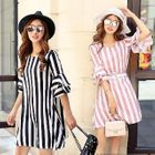Short-Sleeve Ruffled Striped Dress 1596