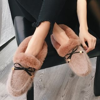 Bow Accent Furry Loafers 1062099340