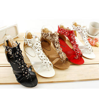 "Buy KAWO Studded ""Flower"" Ankle Sandals 1022786292"