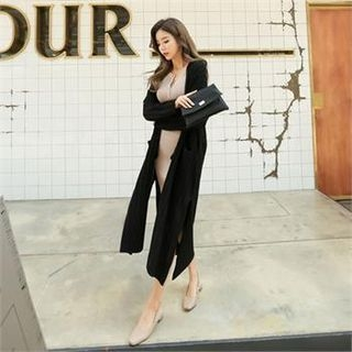 Open-Front Ribbed Long Cardigan 1063202656