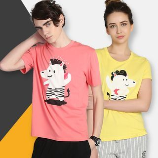 Short-Sleeve Printed Couple T-Shirt 1051087490