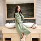 Long-Sleeve Slit-Front Sweater 1596