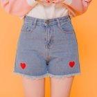 Heart Embroidered Denim Shorts 1596