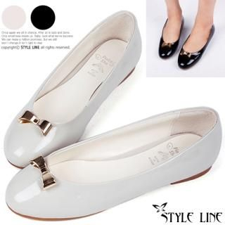 Picture of STYLE LINE Bow-Accent Patent Flats 1023017301 (Flat Shoes, STYLE LINE Shoes, Korea Shoes, Womens Shoes, Womens Flat Shoes)