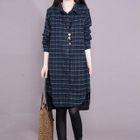 Long-Sleeve Plaid Shirt Dress 1596