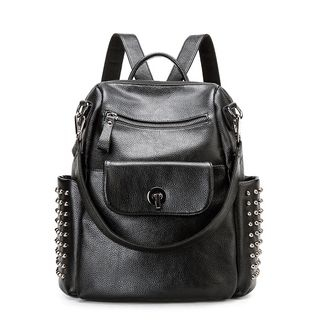 Studded Genuine Leather Backpack