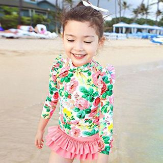 Set : Floral Print Rashguard + Swim Skirt 1048253850