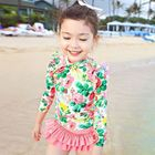 Set : Floral Print Rashguard + Swim Skirt 1596