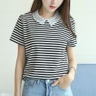 Stripe Short-Sleeve Collared Top 1596