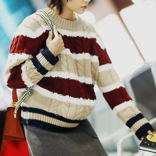 Image of Colour Block Long-Sleeve Knit Sweater