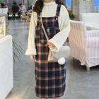 Plaid Pinafore Midi Dress 1596