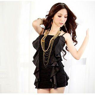 Buy Tian Mu Ruffle Sleeveless Minidress Black – One Size 1022976207
