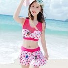 Set: Printed Bikini Top + Swim Skirt + Hooded Jacket 1596