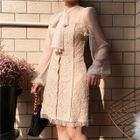 Sheer Panel Tie-Neck Long-Sleeve Lace Dress 1596