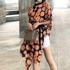 3/4-Sleeve Tie-Waist Mini Dress 1596