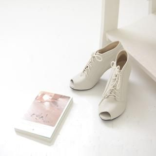 Picture of Youareagirl Open-Toe Lace-Up Ankle Boots 1022240361 (Boots, Youareagirl Shoes, Korea Shoes, Womens Shoes, Womens Boots)