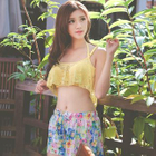 Set: Floral Bikini + Lace Top + SwimShorts 1596