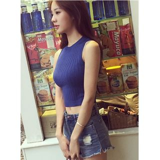 Ribbed Knit Cropped Tank Top 1060013667