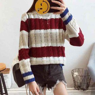 Stripe Ribbed Knit Top 1061478781