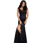 Sleeveless Lace V-Neck Evening Gown 1596